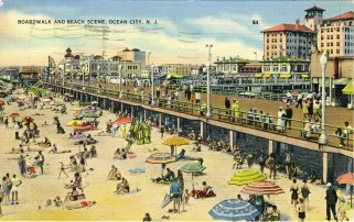Boardwalk and Beach Scene, Ocean City, NJ 1942
