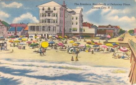 Breakers, Boardwalk at Delancey Place, Ocean City, NJ 1951
