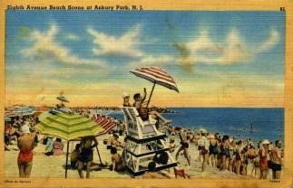 Eighth Avenue Beach Scene at Asbury Park, NJ