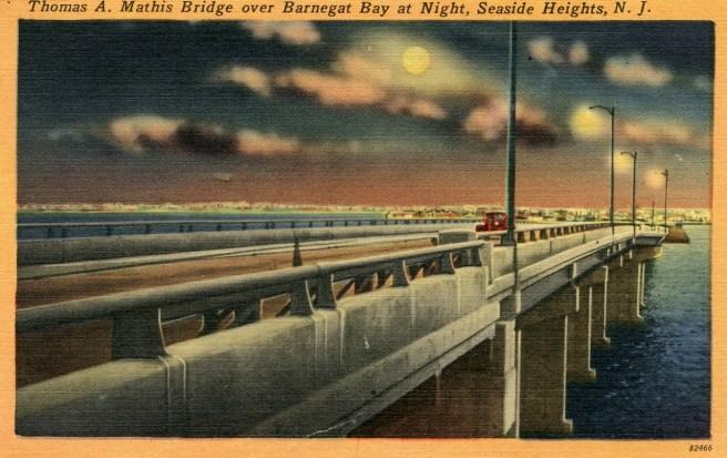 Thomas A. Mathis Bridge Over Barnegat Bay at Night, Seaside Heights, NJ