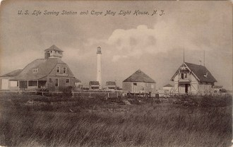US Life Saving Station and Cape May Light House, NJ