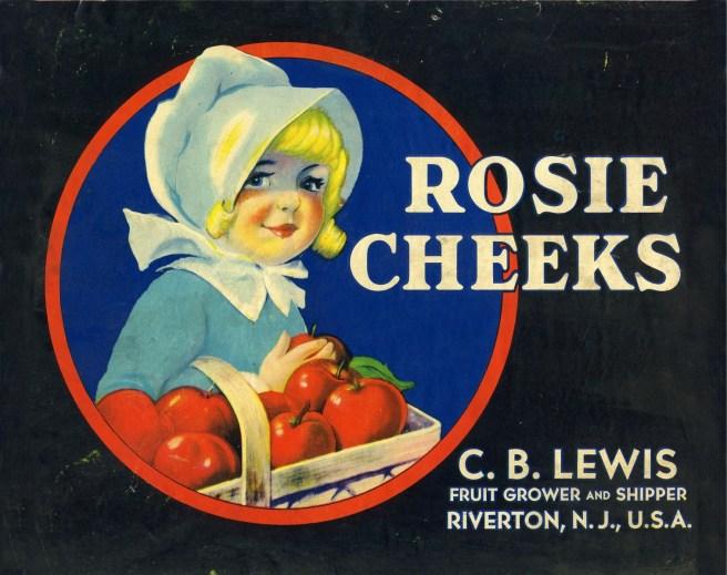 Rosie Cheeks apple crate label
