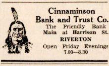 New Era 7-2-1931 Cinnaminson Bank ad