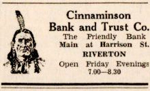 New Era 7-2-1931 Cinnaminson Bank ad