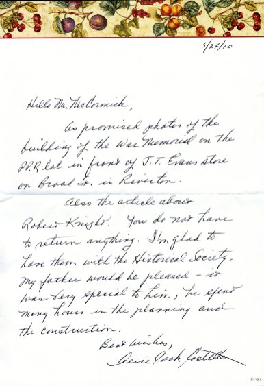 Letter from Mrs. Cook dated May 24, 2010