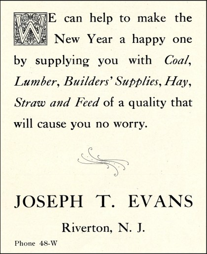 006_JT Evans ad from 1909 Christmas New Era p3