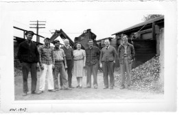 034_1947 Nov - L-R: 1 Ed Kriger 2 Lester Yearly 3 Johnny Armstead 4 unidentified 5 Marge ?? 6 Albert Yearly 7 Jim Kenney 8 unidentified - J.F. Yearly photo