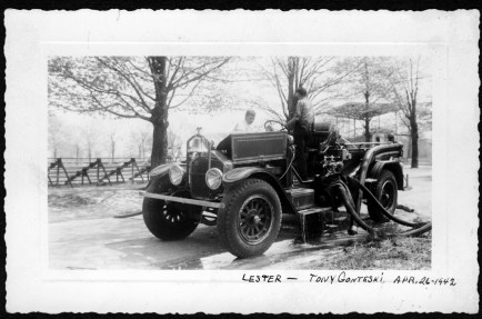 Lester Yearly and Tony Gonteski washing the truck at the park April 26, 1942