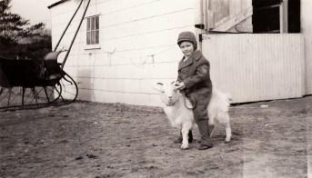 Joseph B. riding a goat