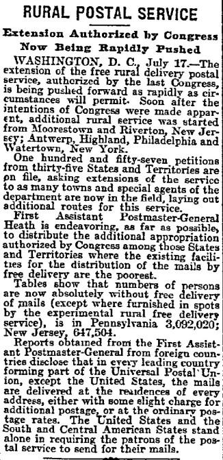 1898-07-18, Philadelphia Inquirer, pg 5, rural postal service