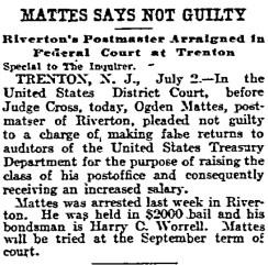 1906-07-03, Philadelphia Inquirer, pg 3, Mattis says not guilty
