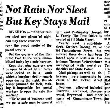 1964-02-20, Trenton Evening Times pg1,Key stays mail, from Mary Flanagan