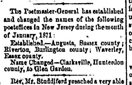 Riverton Post Office established, 1871-02-07, Trenton State Gazette, pg 3
