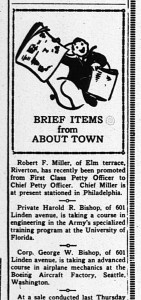 New Era Clipping, July 1, 1943. See the Riverton Veterans Album for many more newsbits and photos about Riverton's military.