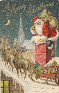 A Merry Christmas - vintage postcard 1909