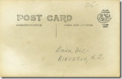 RYC and Bank Avenue, Riverton, NJ RPPC 1904-1920s back (1280x820)