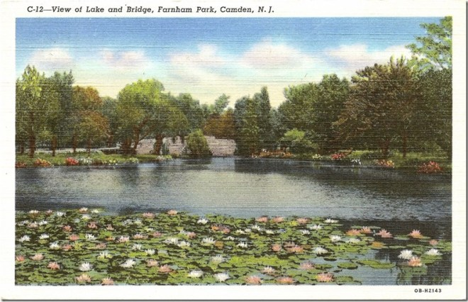 View of Lake and Bridge, Farnum Park, Camden, NJ