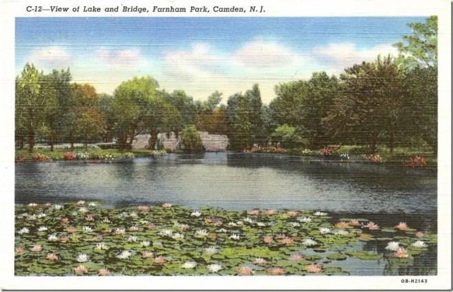 View of Lake and Bridge, Farnum Park, Camden, NJ