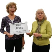 Pat Brunker (l.) and HSR President Phyllis Rogers (r.) display a new plaque.