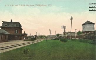 L.V.R.R. and C.R.R. Stations, Phillipsburg, N.J. Postmarked SEP 1908