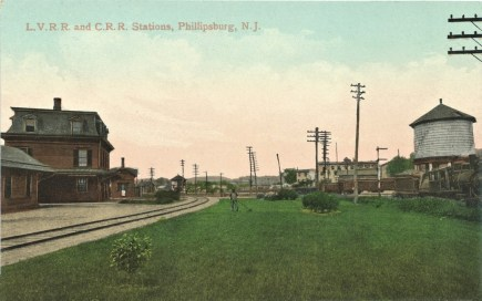 L.V.R.R. and C.R.R. Stations, Phillipsburg, N.J. Postmarked SEP 1908