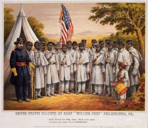 "P.S. Duval & Son, United States Soldiers at Camp ""William Penn"" Philadelphia, PA:""Rally Round the Flag, Boys! Rally Once Again, Shouting the Battle Cry of Freedom"" (Philadelphia: Published by the Supervisory Committee for Recruiting Colored Regiments, 1210 Chestnut Street), 1863. Chromolithograph with hand-coloring."