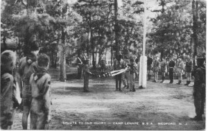Salute to Old Glory, Camp Lenape, postmark 1954