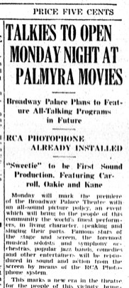 Talkies at Broadway Theater, The New Era, Jan. 9, 1930