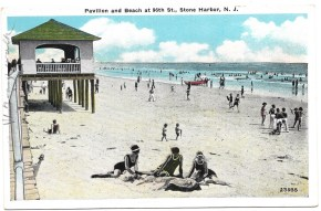 Pavilion and beach at 96th St., Stone Harbor, NJ