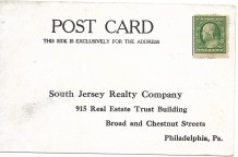 Address side of postcard properly stamped for mailing to South Jersey Realty Company in Philadelphia