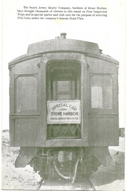 One of the special club railroad cars used to transport prospective buyers of lots for home building in Stone Harbor
