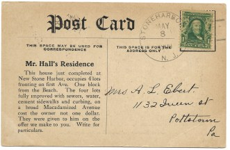 Message/Address side of promotional picture postcard showing just completed residence in the New Stone Harbor