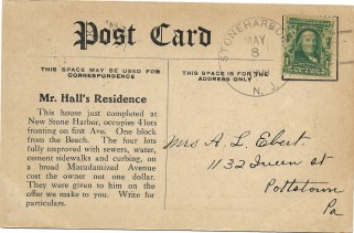 postcard announcing successful completion of Mr. Hall's Residence and soliciting new property owners