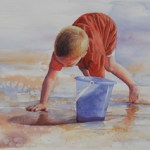 Boy at Shore Painting by Vickie Reynolds