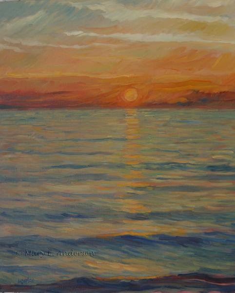 "Lake Michigan Sunset. Oil on canvas, 24"" x 20"", 2011"