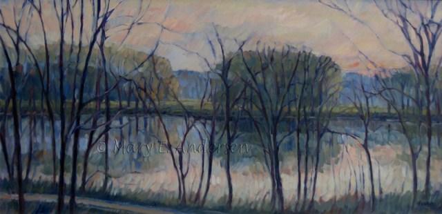 November Sunrise No. 5. Oil on canvas, 24x48. Mary E Anderesen