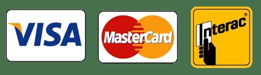 Visa, Master Card, Interac
