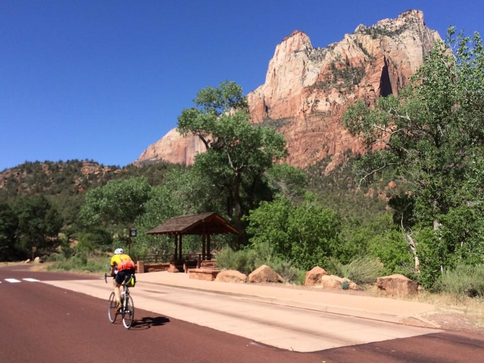 Approaching a bike path in Zion.