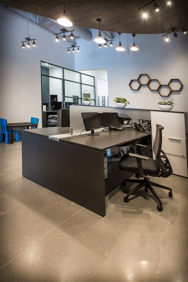 Cooperators Insurance Office open concept work desks Sherwood Park Edmonton