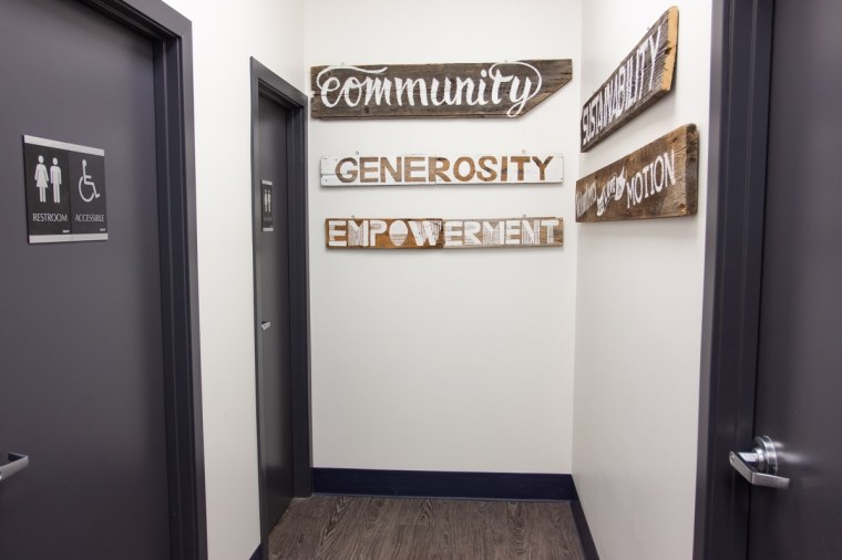 Signs installed outside of the bathrooms of common ground cafe