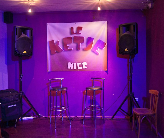 The stage area in Le Ketje in Nice