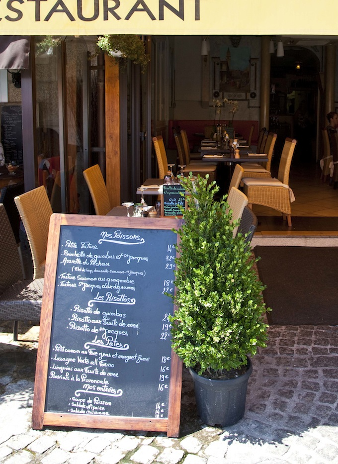 Menu board at Trastevere in Villefranche-sur-Mer