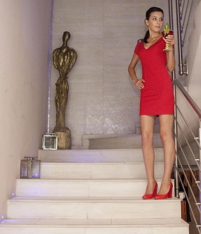 Adina on stairs in Villa Garibaldi