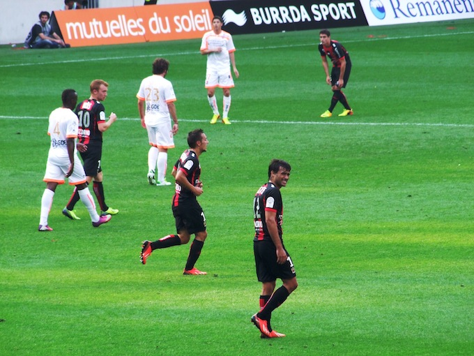 OGC Nice in action in the Allianz Riviera stadium