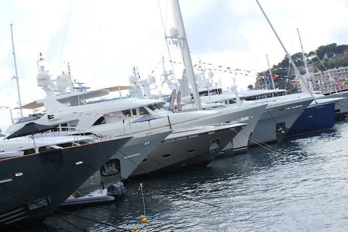 All the pretty boats in a row at the Monaco Yacht Show 2013