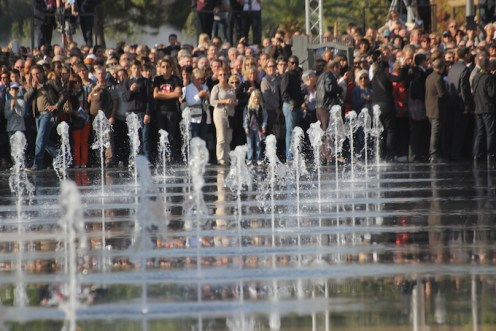 Water fountains in action at Promenade du Paillon in Nice