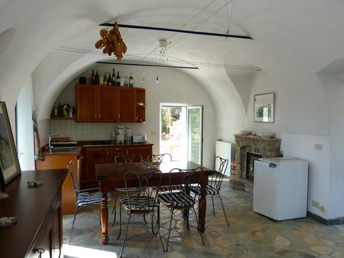 The kitchen in the country house overlooking Dolceacqua