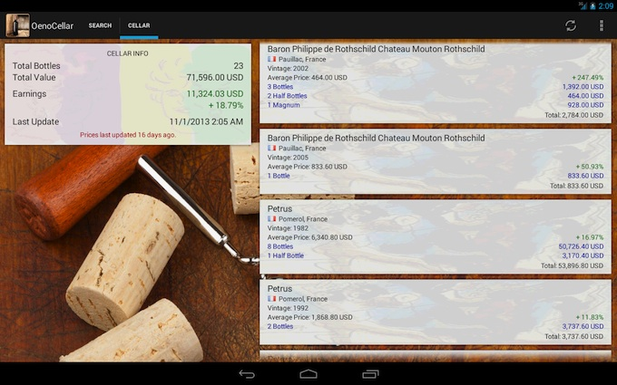 Oenocellar app available on Google Play