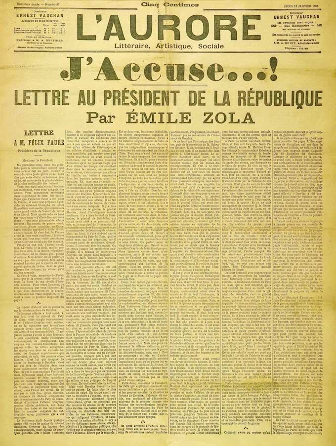 Emile Zola letter 'J'accuse' from 1898 - click for enlarged version