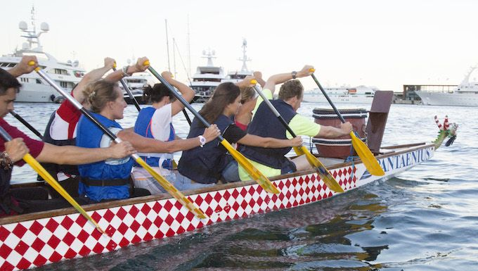 Rowing a Dragon Boat in Monaco